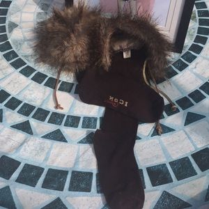 Faux Fur Boot Covers with Leather Ties